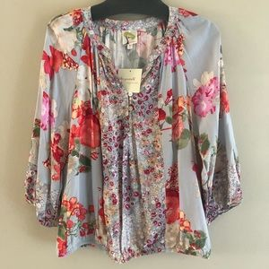 Colorful Floral 3/4 Sleeves Blouse